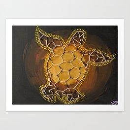 Golden Tortoise by Australian Artist Vidy Potdar – Acrylic Painting on Canvas Art Print