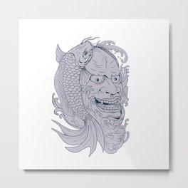 Hannya Mask and Koi Fish Drawing Metal Print