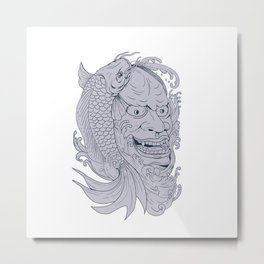 Hannya Mask and Koi Fish Drawing Metal Print