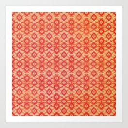 orange tie dye small repeat Art Print
