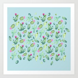 Green Cactus with Pink Bloom | Watercolor Cacti on Cyan Background Art Print