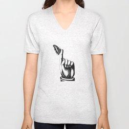 BLACK & WHITE - Butterfly on Finger Unisex V-Neck