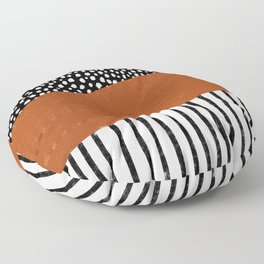 Polka Dots and Stripes Pattern (black/white/burnt orange) Floor Pillow