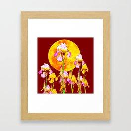 BURGUNDY SKY IRIS GARDEN RISING GOLDEN MOON Framed Art Print