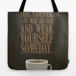 Coffee Warning Tote Bag