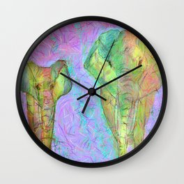 Colored elephants Wall Clock