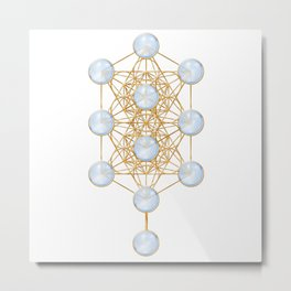Tree of Life and Metatron Cube Synergy Metal Print