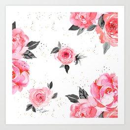 bright rose on white Art Print