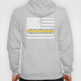New Jersey 911 Emergency Dispatcher Gift for Police, Fire and Ambulance Dispatchers Thin Gold Line Hoody