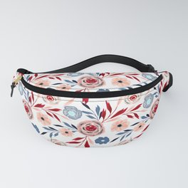 Pink and blue flowers. Fanny Pack