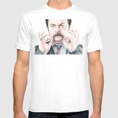 Swanson Mustache Mens Fitted Tee White SMALL