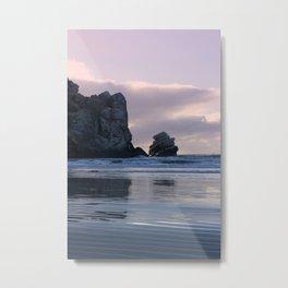 Morro Rock Beach Sunset Pink Metal Print