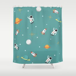 Space Pattern Illustration with Cyan Background Shower Curtain