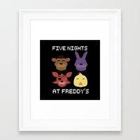 fnaf Framed Art Prints featuring The FNAF Gang by AjaSama