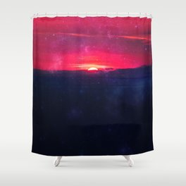 End of Adventure - sunset red dawn Shower Curtain