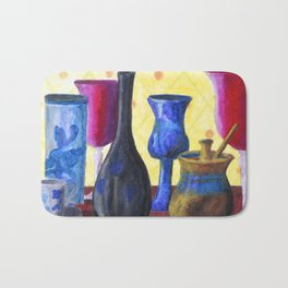 Bottlescape I, Abstract Alice in Wonderland Party Bath Mat