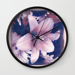 Ephemeral Beauty of Spring in Blue & Pink Wall Clock