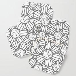 Field of daisies - gray Coaster