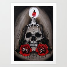 Voodoo Skull and Roses with candle Art Print