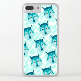 husky - wht pattern Clear iPhone Case