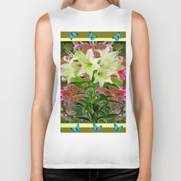 BUTTERFLIES PURPLE & WHITE LILIES AVOCADO FLORAL Biker Tank