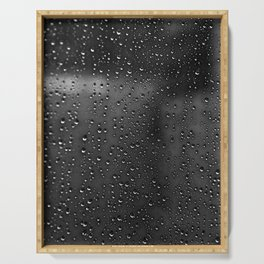 Black and White Rain Drops; Abstract Serving Tray