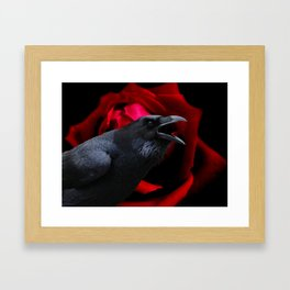 Surreal Crow against Red Rose A590 Framed Art Print