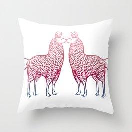 Llamas Kissing Throw Pillow