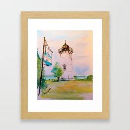 East Chop (Telegraph Hill) Lighthouse Martha's Vineyard Watercolor Framed Art Print