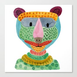 Cute Bear Watecolor Canvas Print