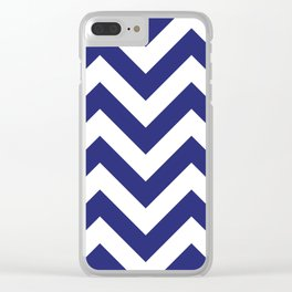 Large chevron pattern / navy blue Clear iPhone Case