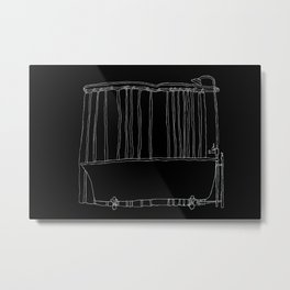 Bathtub In Black Metal Print