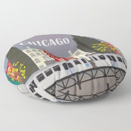 Chicago, Illinois - Skyline Illustration by Loose Petals Floor Pillow