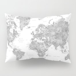 Oh darling, where to next... detailed world map in grayscale watercolor Pillow Sham