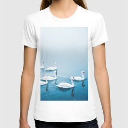 White swans in the lake - peaceful nature animals photo T-shirt