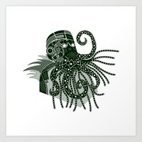 cthulhu Art Prints featuring Cthulhu by Hinterlund