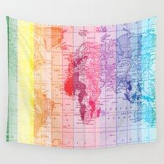 Rainbow World Map Wall Tapestry