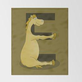 Pony Monogram Letter E Throw Blanket