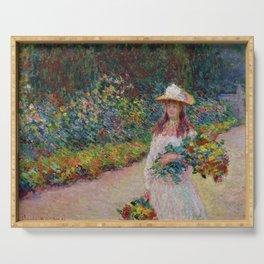 """Claude Monet """"Jeune fille dans le jardin de Giverny"""" Serving Tray"""