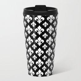 Fleur De Lis White on Black Travel Mug