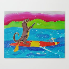 Otter on His SUP Canvas Print