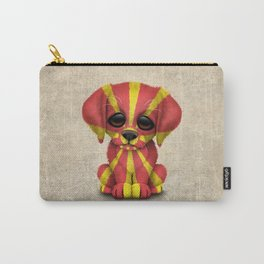 Cute Puppy Dog with flag of Macedonia Carry-All Pouch