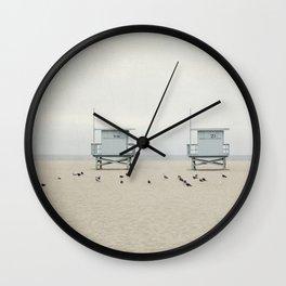 Lifeguard Towers with Birds Wall Clock