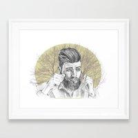 beard Framed Art Prints featuring beard by mirart