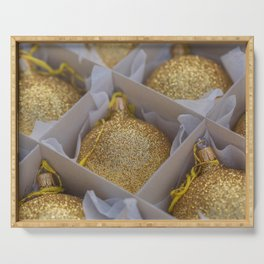 Time For Golden Christmas Balls Serving Tray