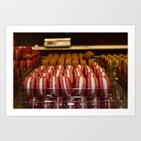 macaroon Art Prints featuring Macaroon Love by Natalie Ever After