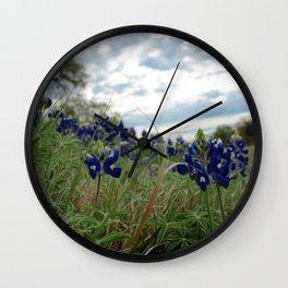 Blue Bonnet Madness Wall Clock