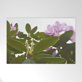 Pink Azalea Flowers with Spring Green Leaves Welcome Mat