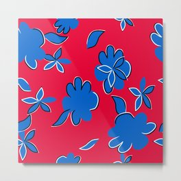 Blue Flowers on Red Background Metal Print
