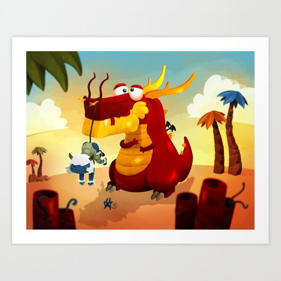 Dragonnet Rouge Art Print